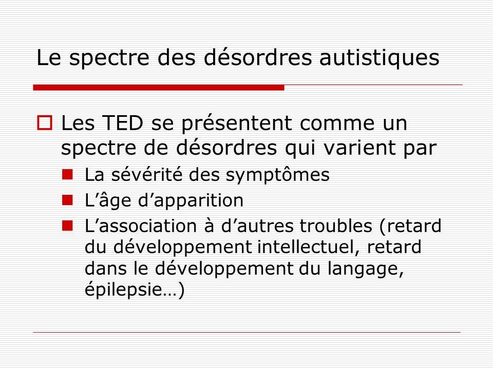 Le spectre des désordres autistiques