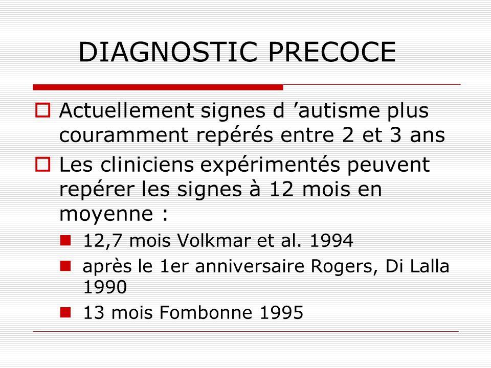 DIAGNOSTIC PRECOCE Actuellement signes d 'autisme plus couramment repérés entre 2 et 3 ans.