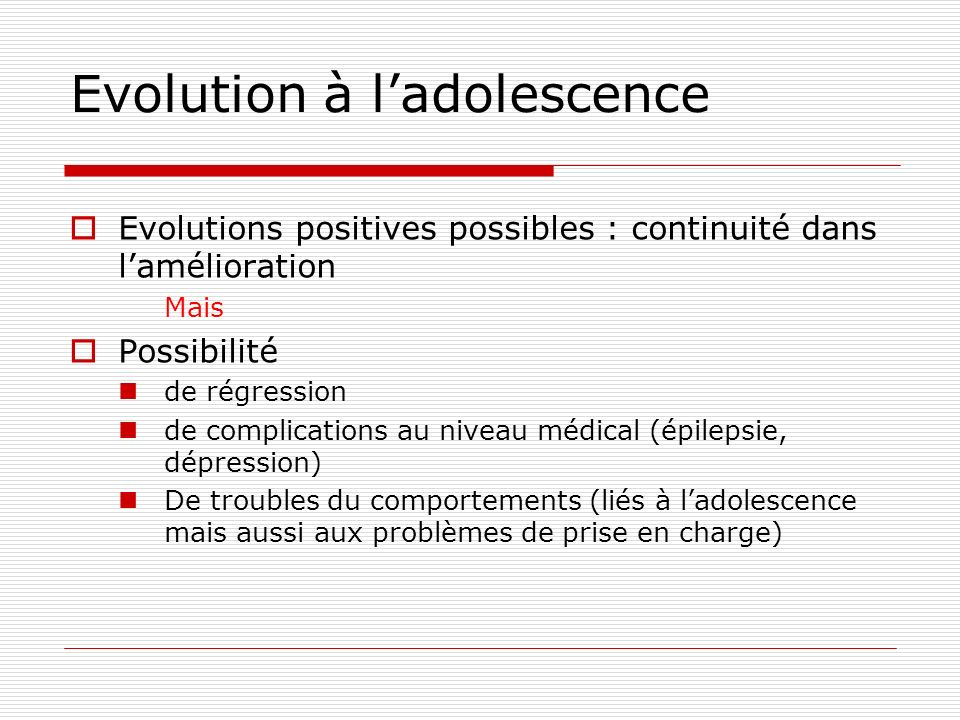 Evolution à l'adolescence