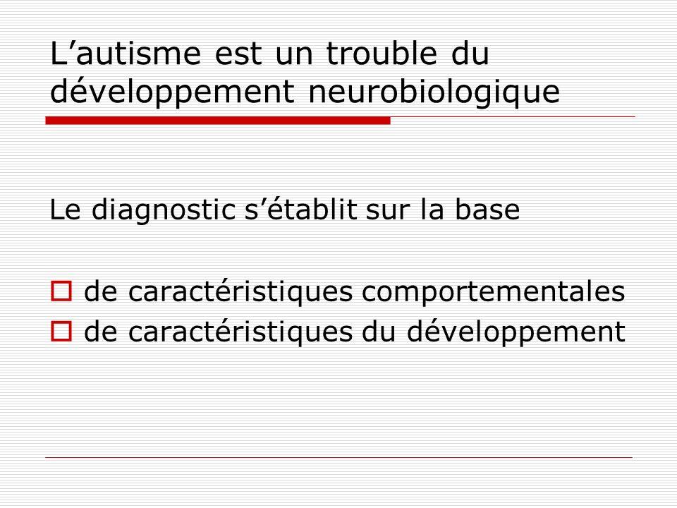 L'autisme est un trouble du développement neurobiologique