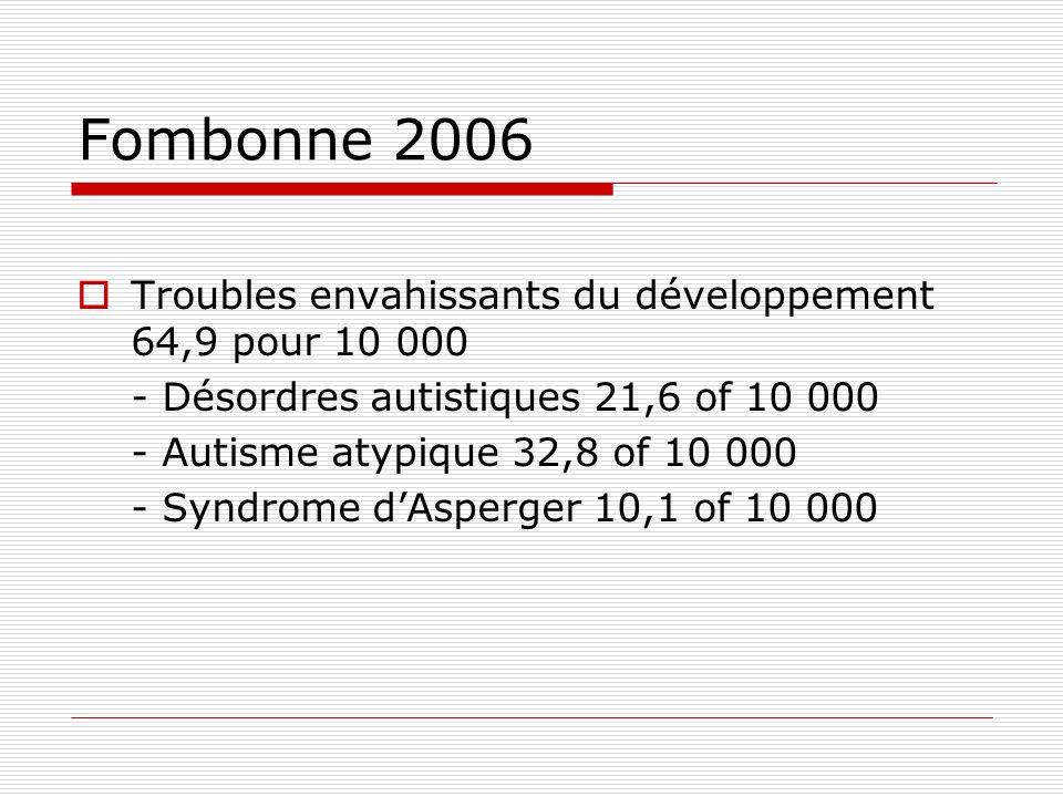 Fombonne 2006 Troubles envahissants du développement 64,9 pour 10 000