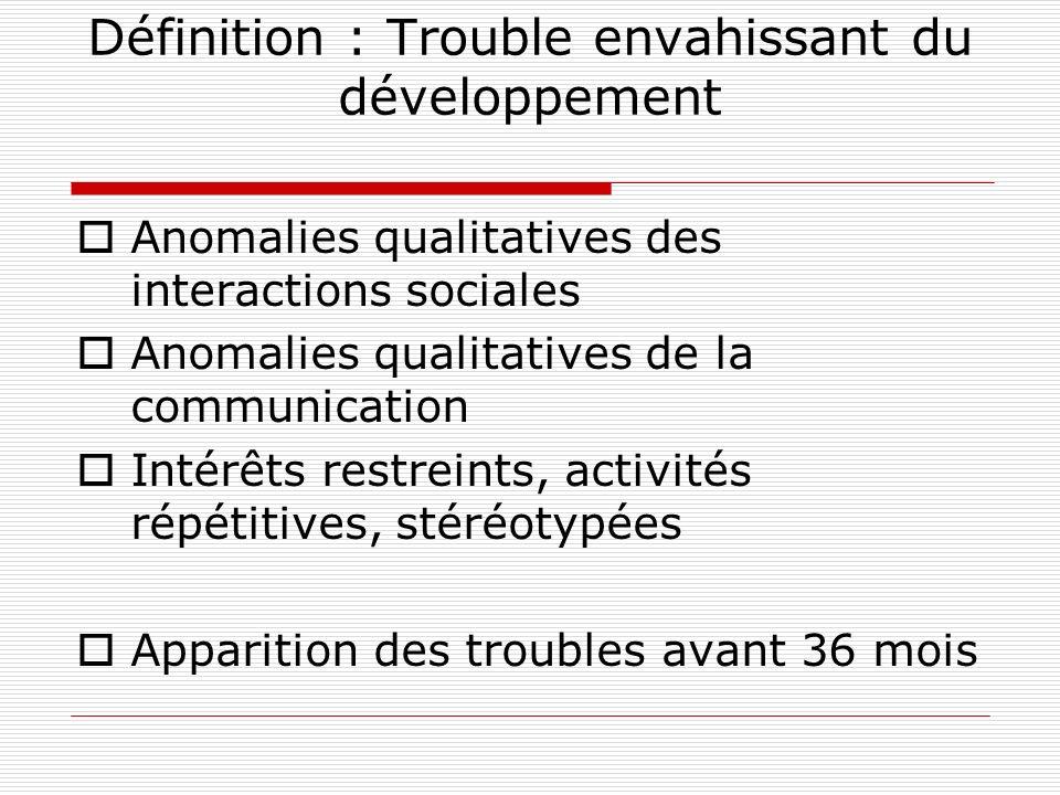 Définition : Trouble envahissant du développement