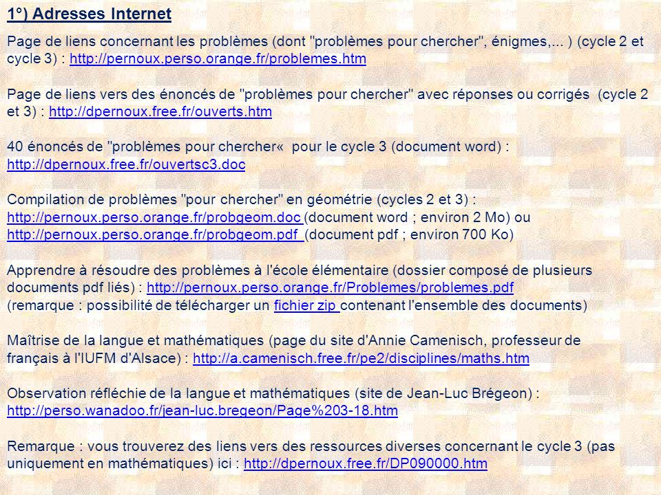1°) Adresses Internet