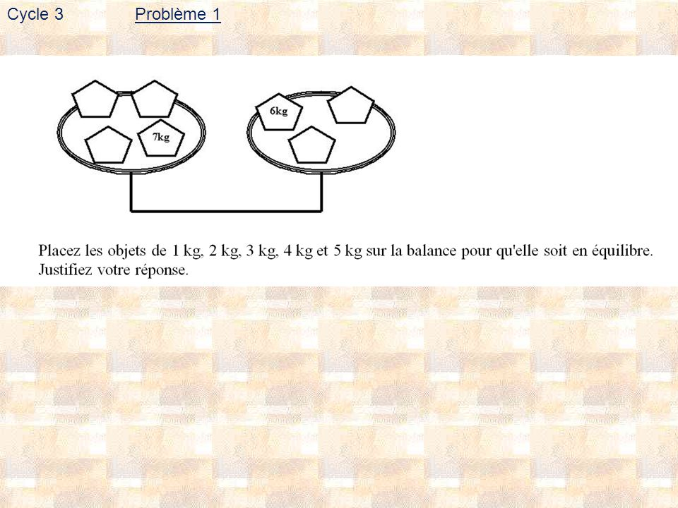 Problème 1 Cycle 3
