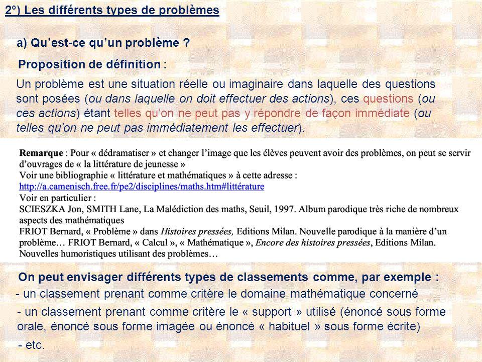 2°) Les différents types de problèmes