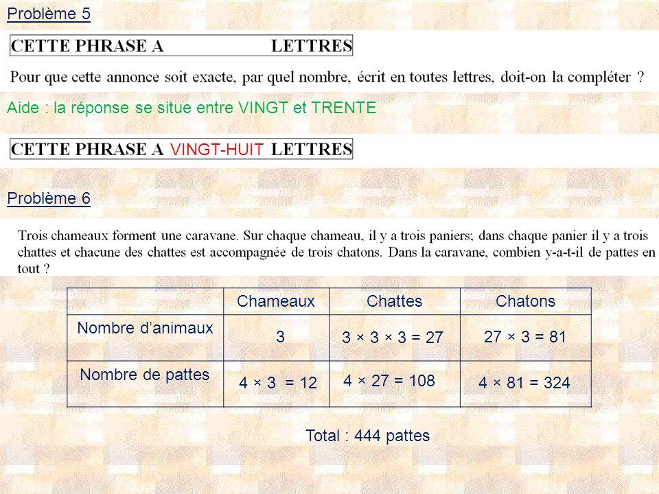 Problème 5 Aide : la réponse se situe entre VINGT et TRENTE. VINGT-HUIT. Problème 6. Chameaux. Chattes.