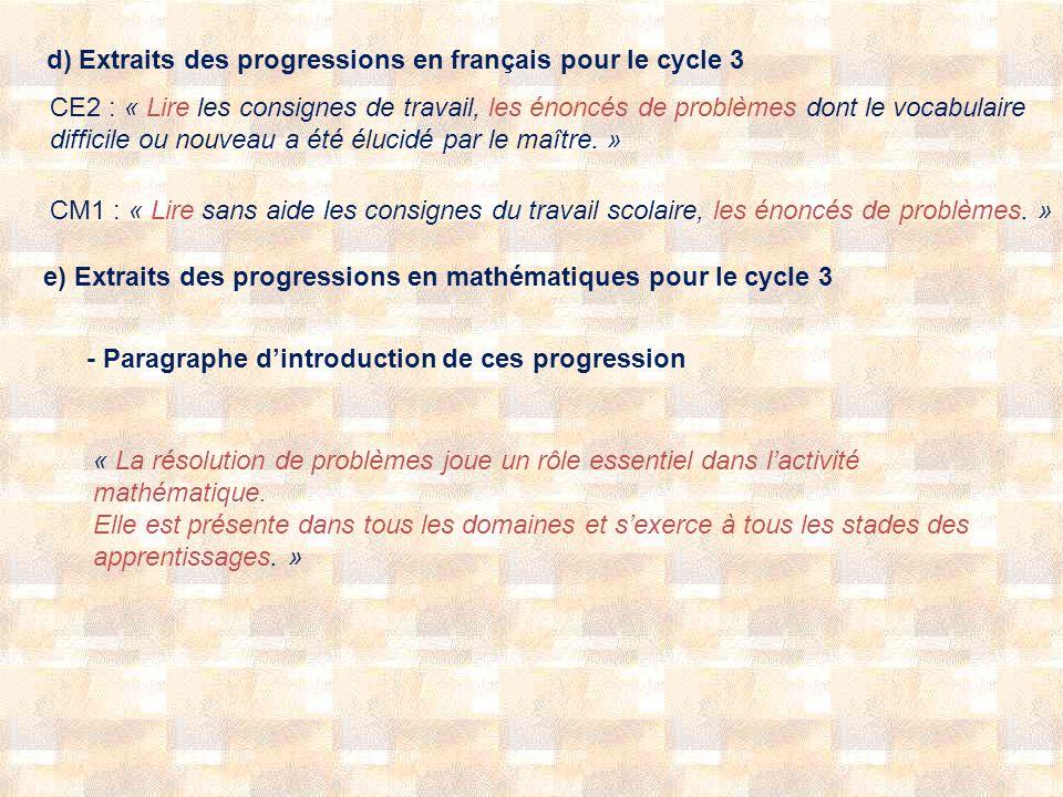 d) Extraits des progressions en français pour le cycle 3