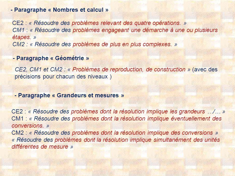 - Paragraphe « Nombres et calcul »