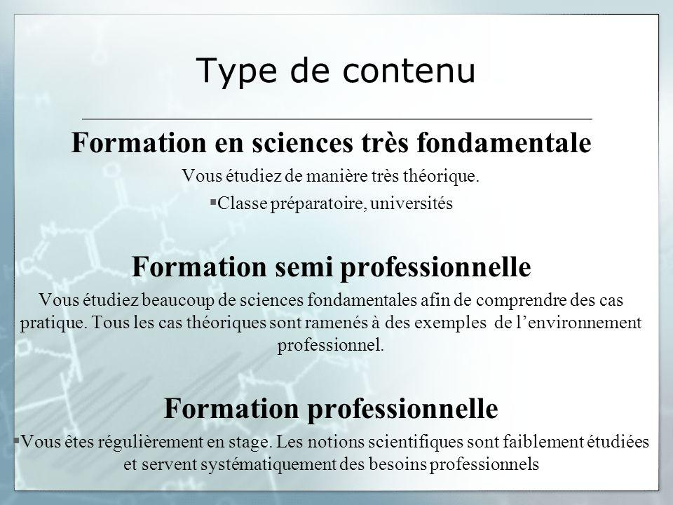 Type de contenu Formation en sciences très fondamentale