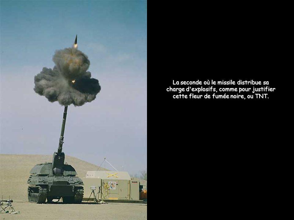 La seconde où le missile distribue sa charge d explosifs, comme pour justifier cette fleur de fumée noire, ou TNT.