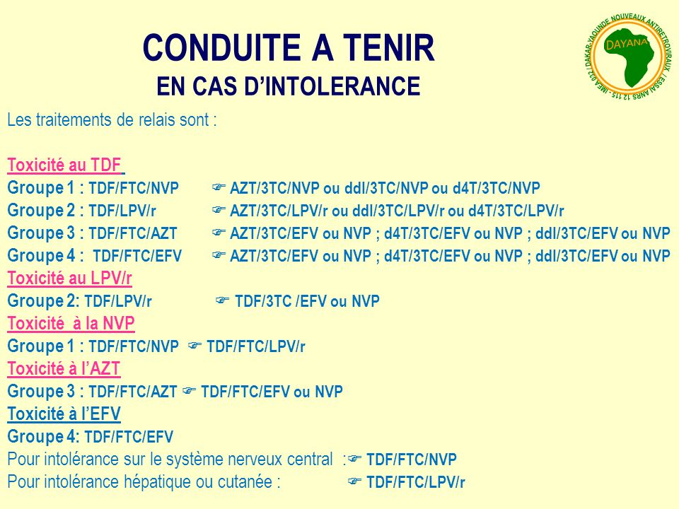 CONDUITE A TENIR EN CAS D'INTOLERANCE Les traitements de relais sont :