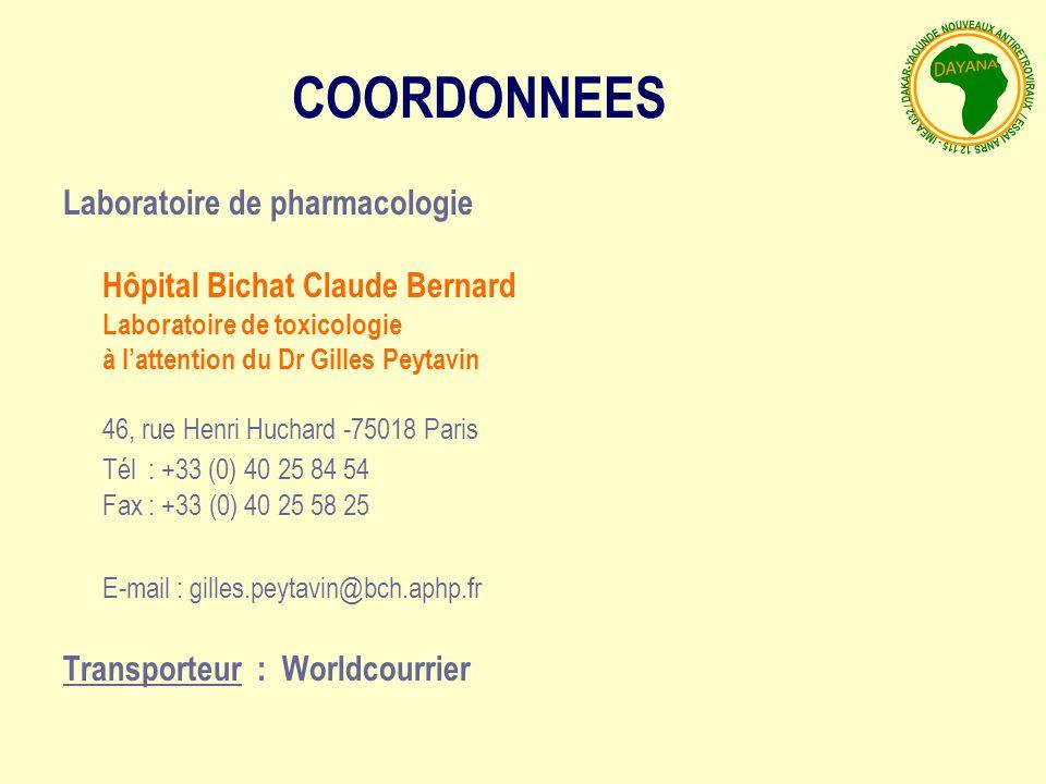 COORDONNEES Laboratoire de pharmacologie Tél : +33 (0) 40 25 84 54