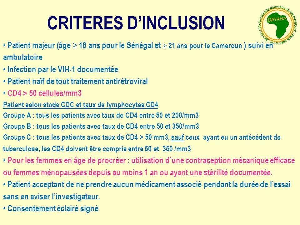 CRITERES D'INCLUSION Patient majeur (âge  18 ans pour le Sénégal et  21 ans pour le Cameroun ) suivi en ambulatoire.