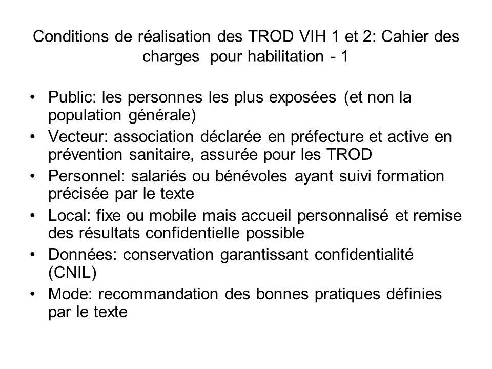 Conditions de réalisation des TROD VIH 1 et 2: Cahier des charges pour habilitation - 1