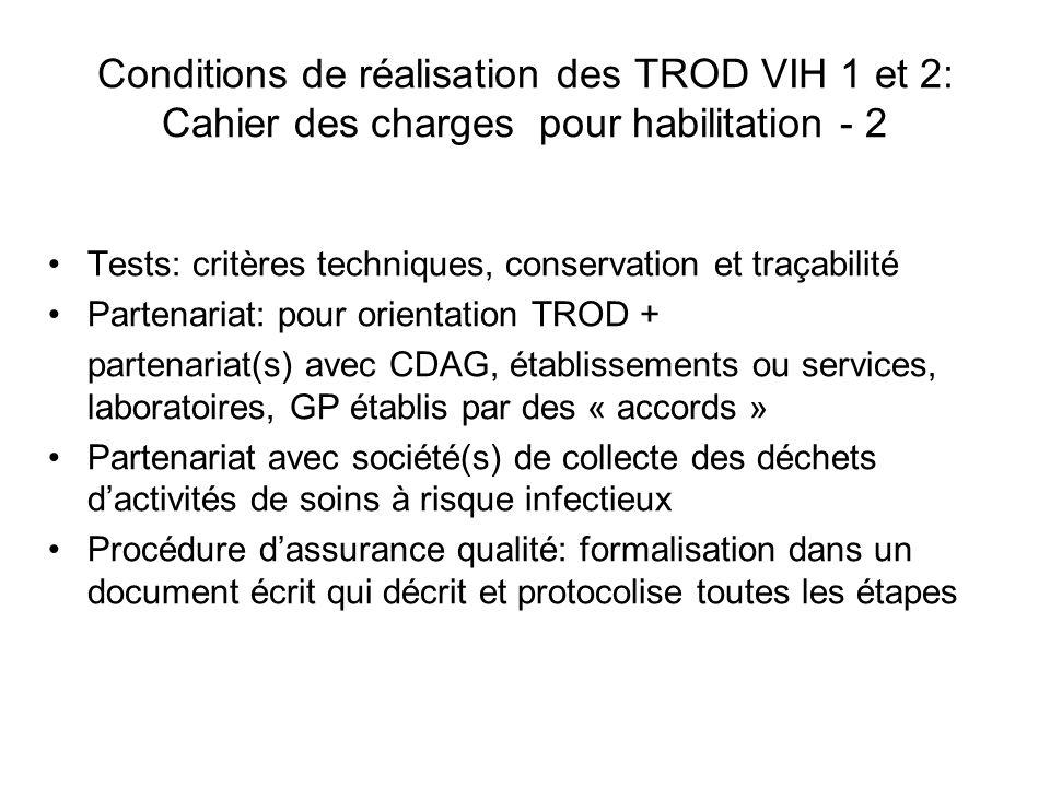 Conditions de réalisation des TROD VIH 1 et 2: Cahier des charges pour habilitation - 2
