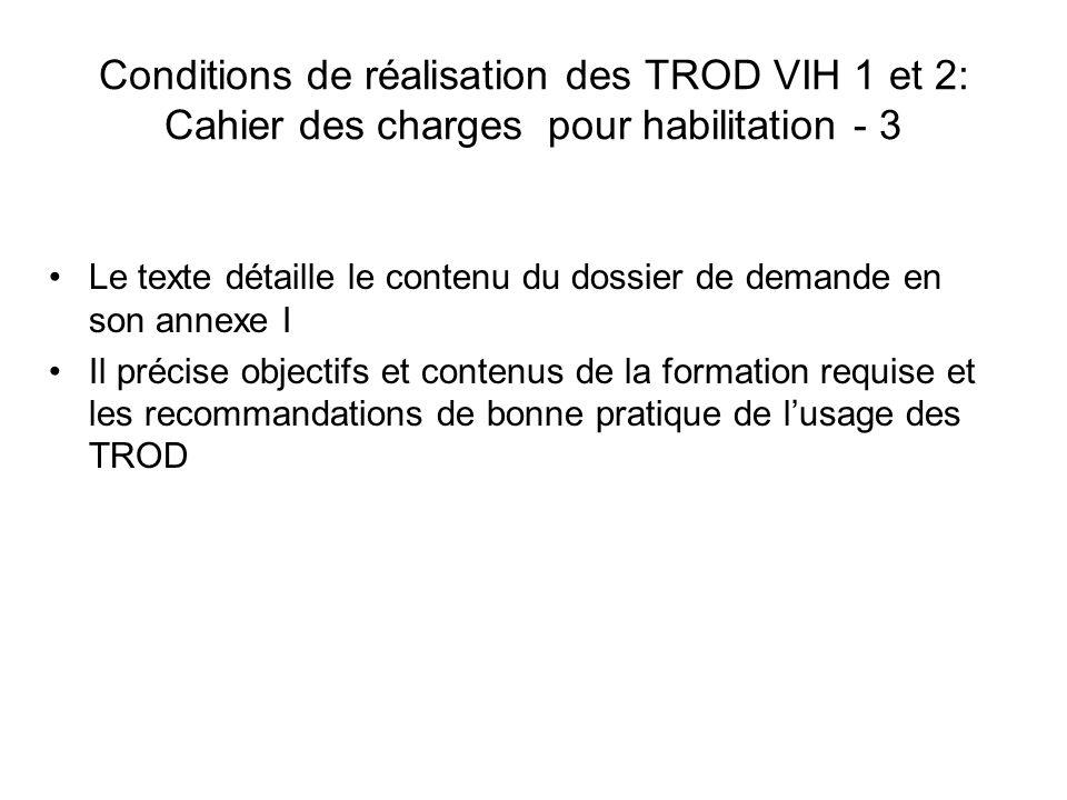 Conditions de réalisation des TROD VIH 1 et 2: Cahier des charges pour habilitation - 3