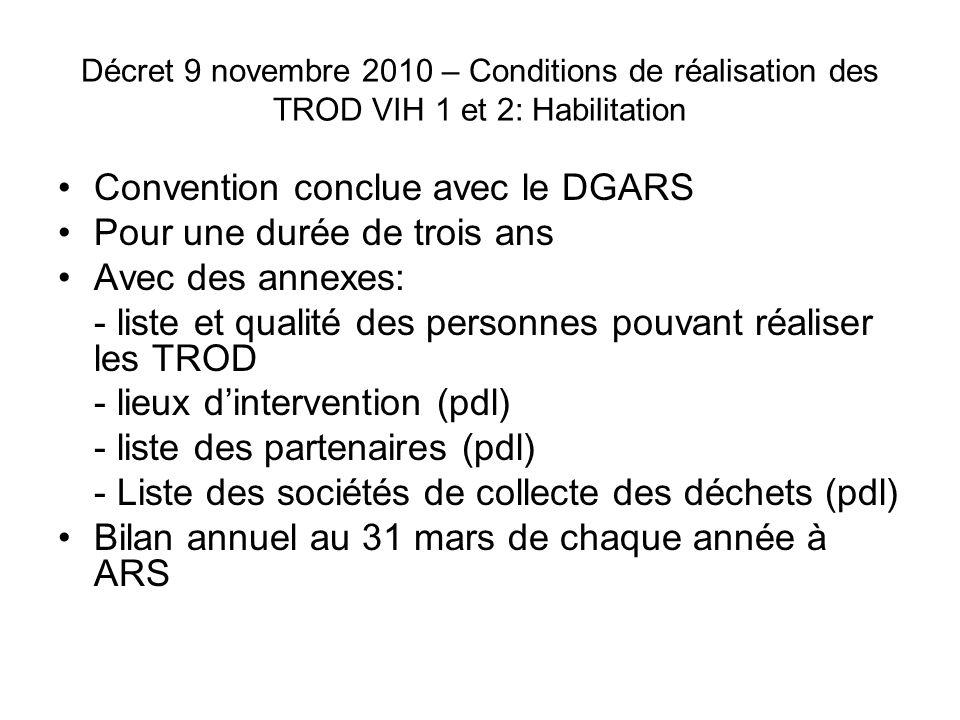 Convention conclue avec le DGARS Pour une durée de trois ans