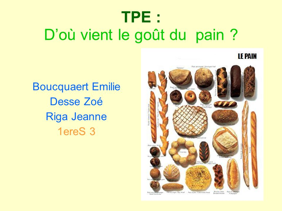 TPE : D'où vient le goût du pain