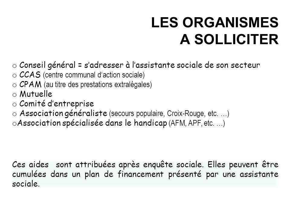 LES ORGANISMES A SOLLICITER
