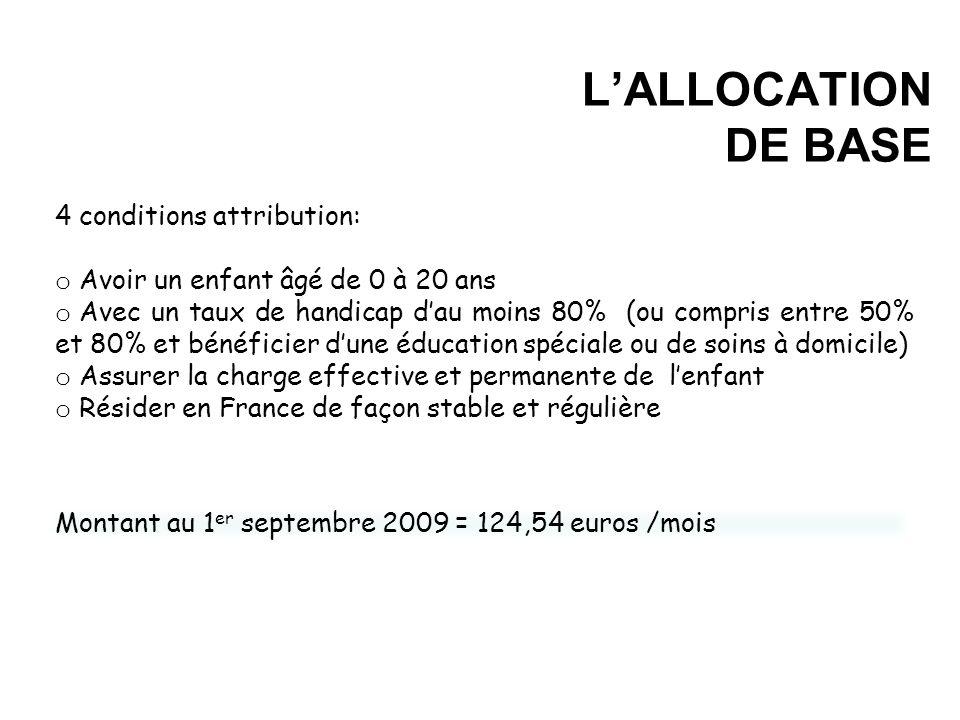 L'ALLOCATION DE BASE 4 conditions attribution: