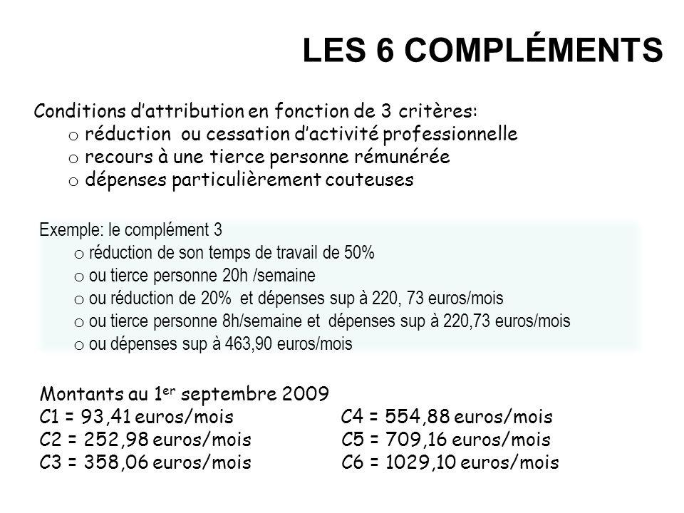 LES 6 COMPLÉMENTS Conditions d'attribution en fonction de 3 critères: