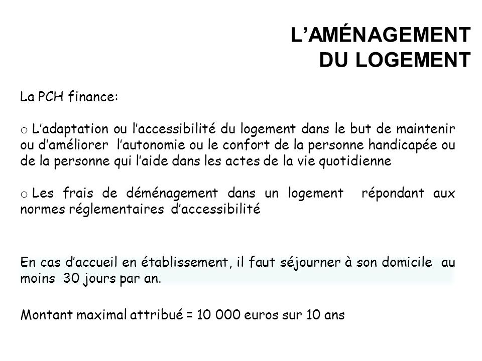 L'AMÉNAGEMENT DU LOGEMENT