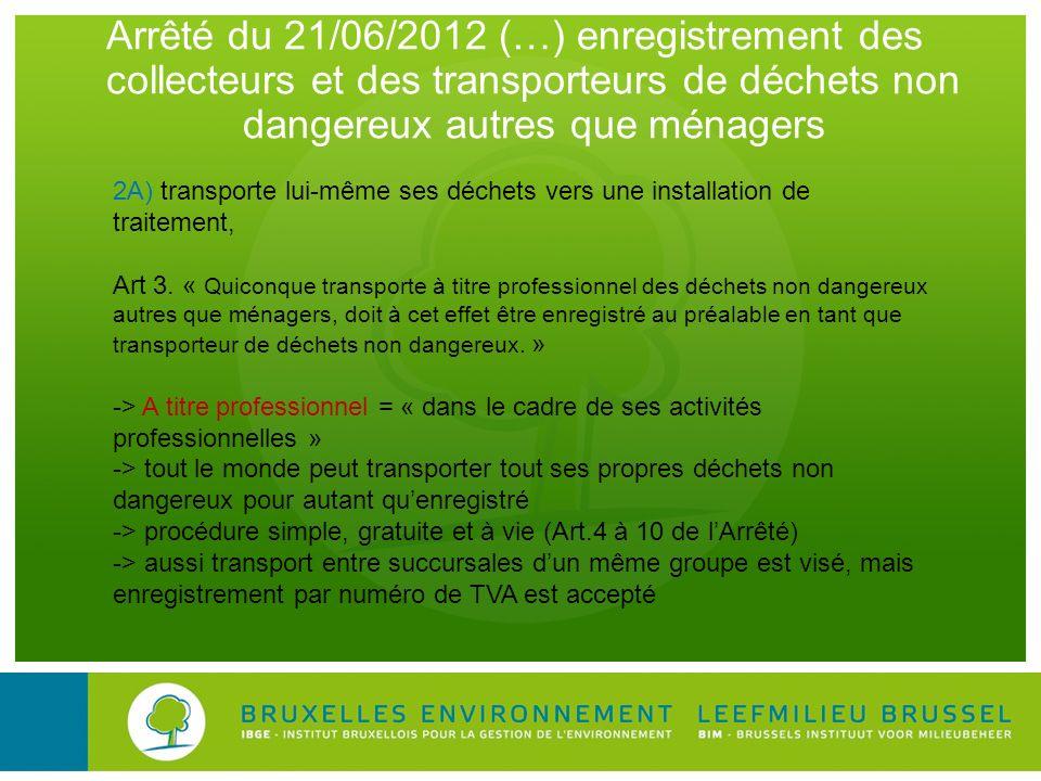 Arrêté du 21/06/2012 (…) enregistrement des collecteurs et des transporteurs de déchets non dangereux autres que ménagers