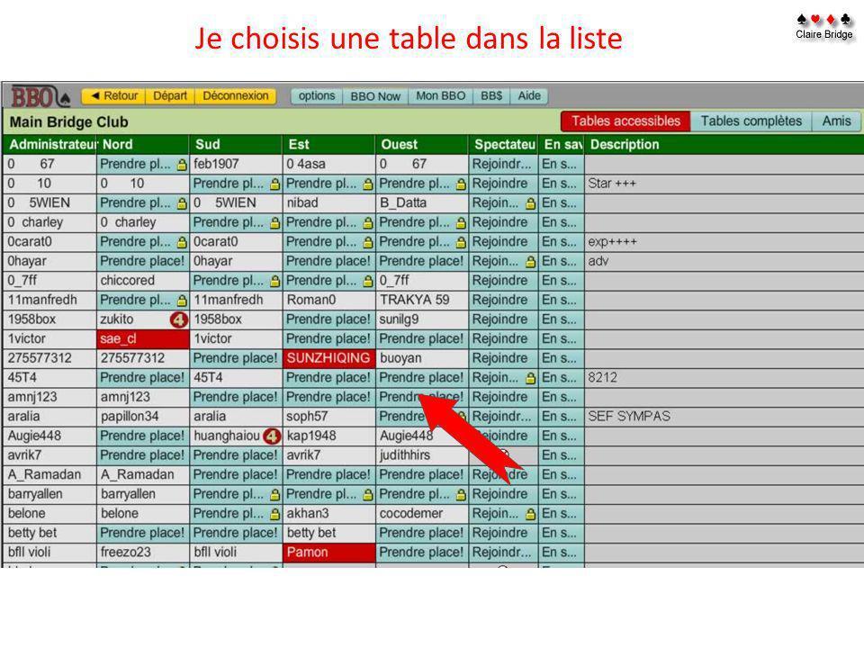 Je choisis une table dans la liste