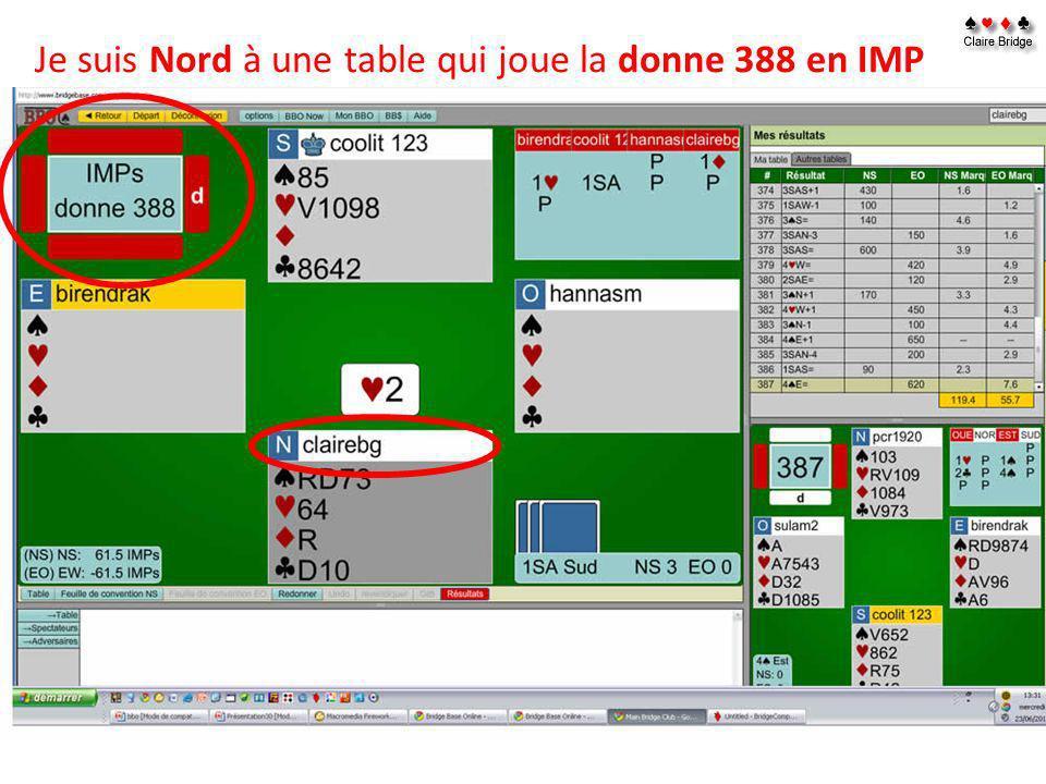 Je suis Nord à une table qui joue la donne 388 en IMP