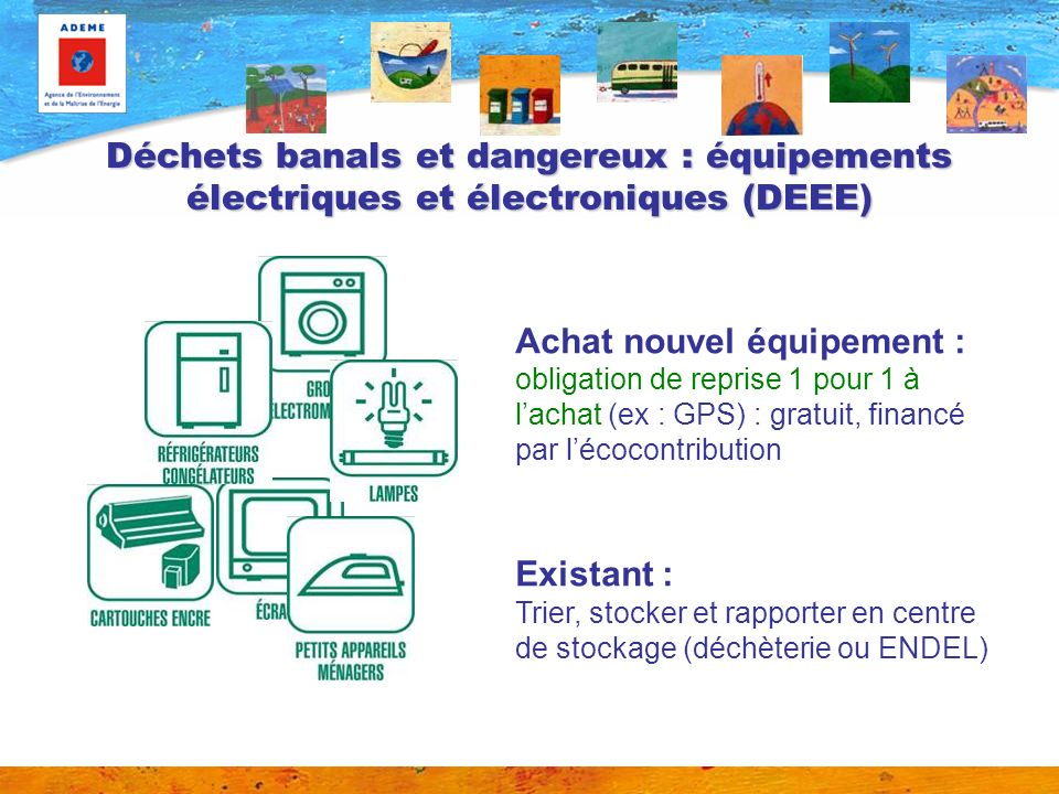 Déchets banals et dangereux : équipements électriques et électroniques (DEEE)