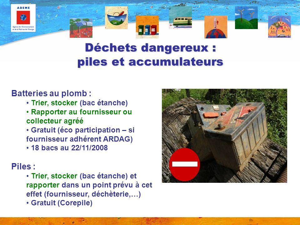 Déchets dangereux : piles et accumulateurs