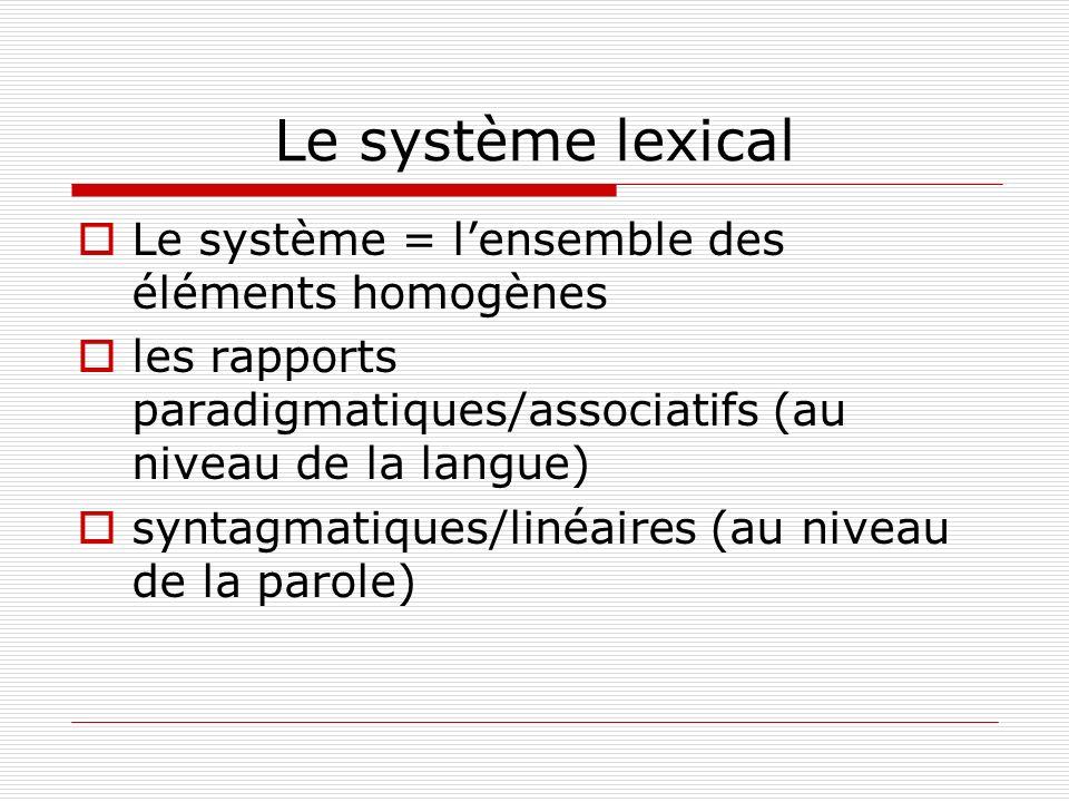 Le système lexical Le système = l'ensemble des éléments homogènes
