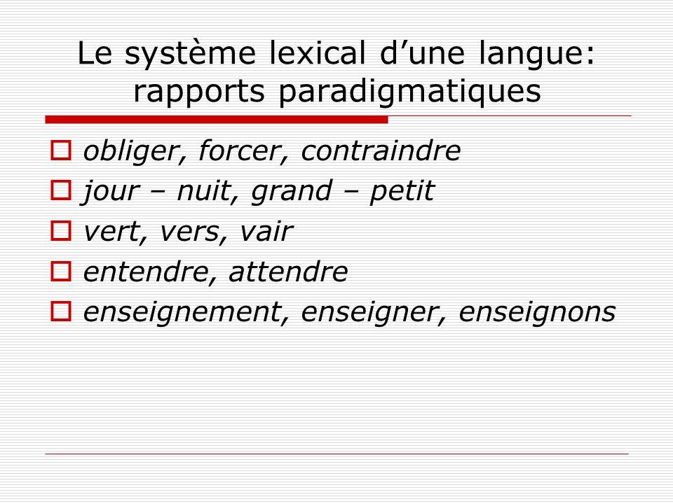 Le système lexical d'une langue: rapports paradigmatiques
