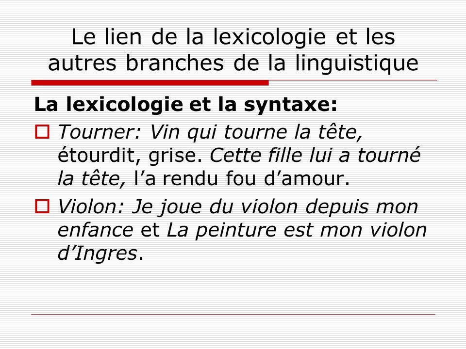 Le lien de la lexicologie et les autres branches de la linguistique