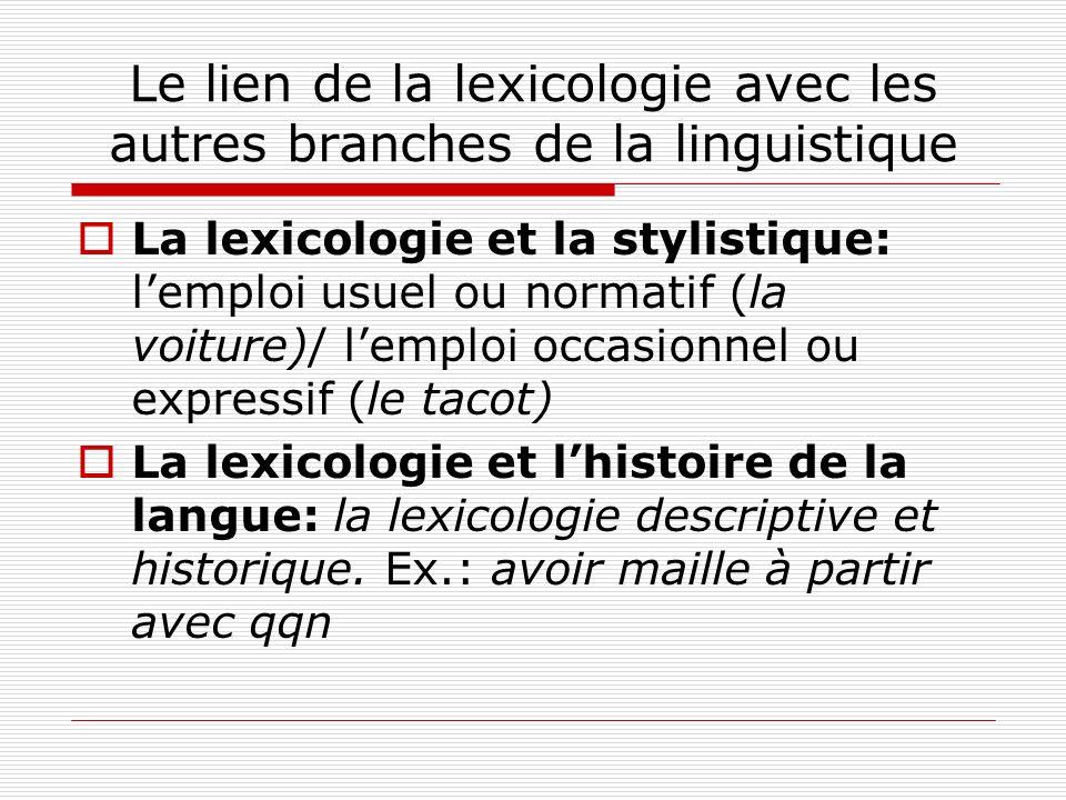Le lien de la lexicologie avec les autres branches de la linguistique