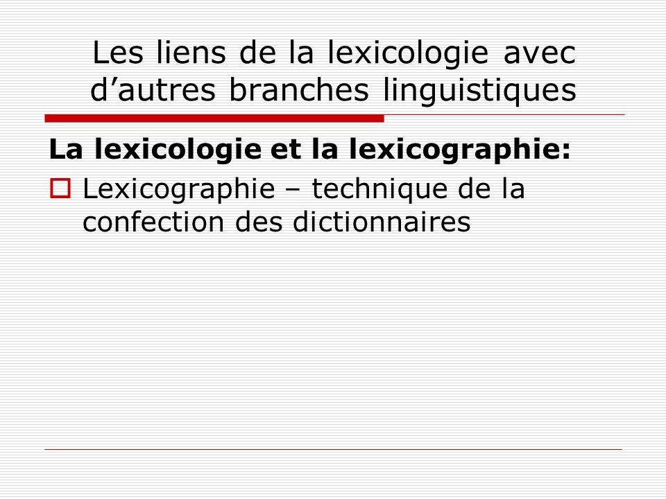 Les liens de la lexicologie avec d'autres branches linguistiques