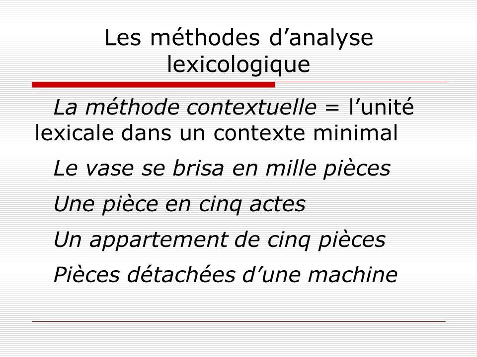 Les méthodes d'analyse lexicologique