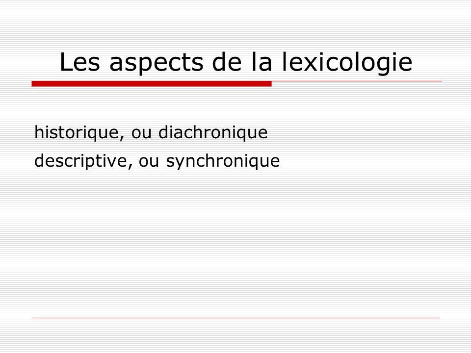 Les aspects de la lexicologie