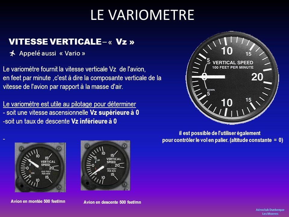 LE VARIOMETRE VITESSE VERTICALE – « Vz » Appelé aussi « Vario »