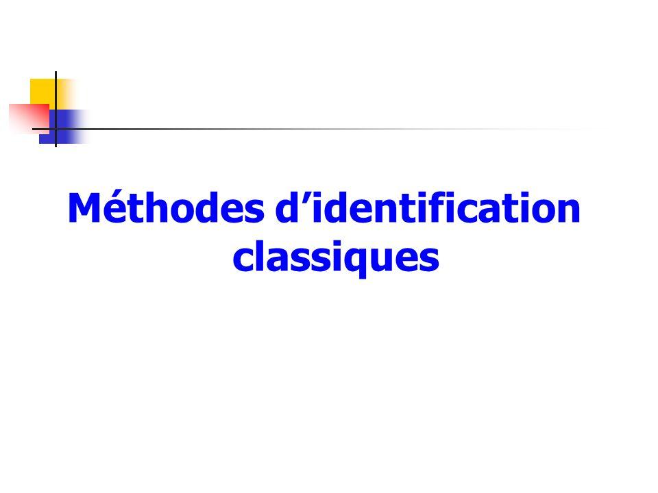 Méthodes d'identification classiques