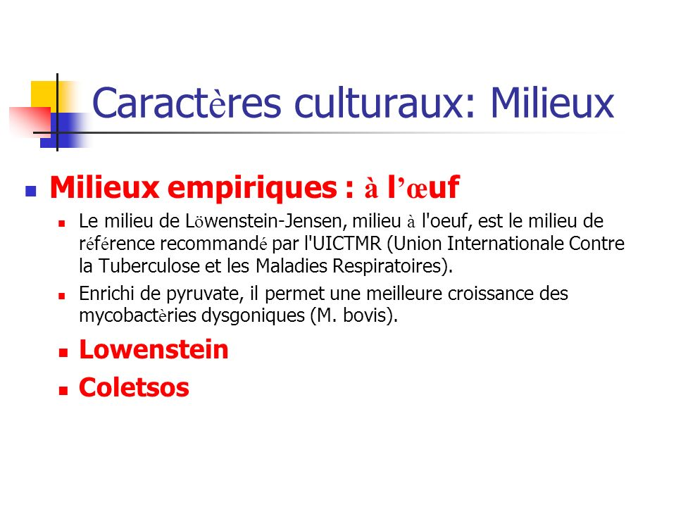 Caractères culturaux: Milieux