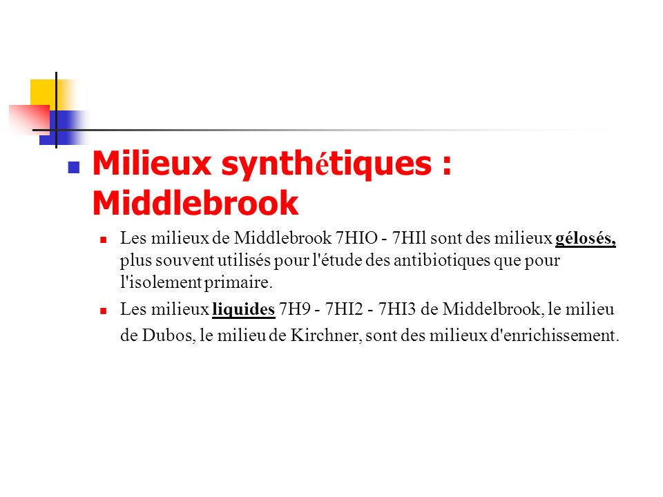 Milieux synthétiques : Middlebrook