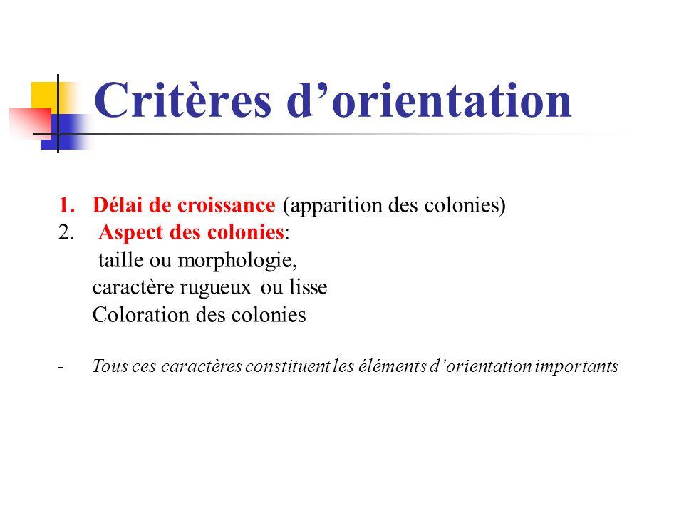 Critères d'orientation