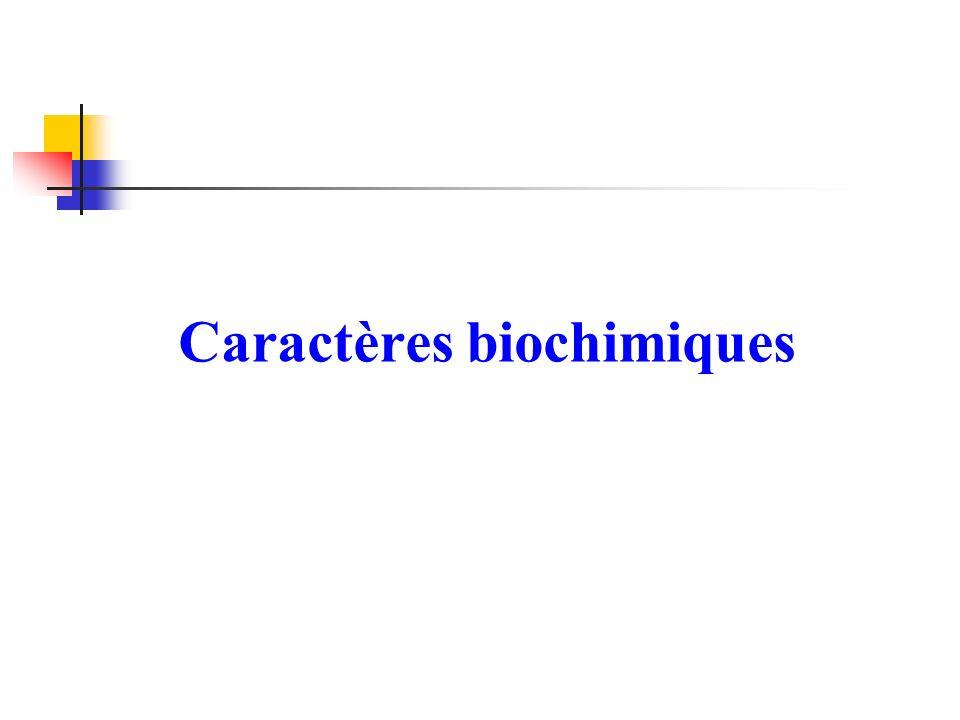 Caractères biochimiques