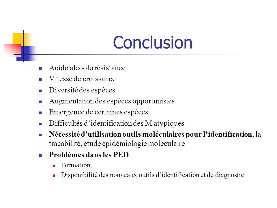Conclusion Acido alcoolo résistance Vitesse de croissance