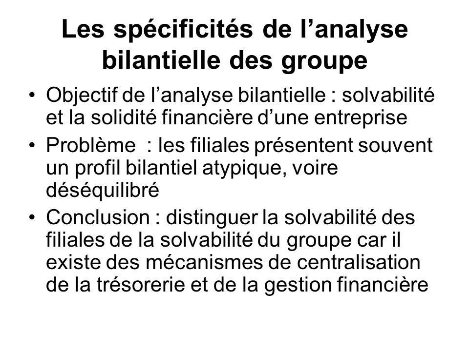 Les spécificités de l'analyse bilantielle des groupe