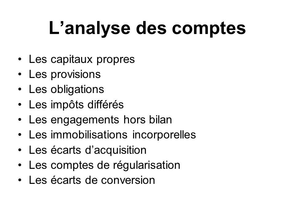 L'analyse des comptes Les capitaux propres Les provisions