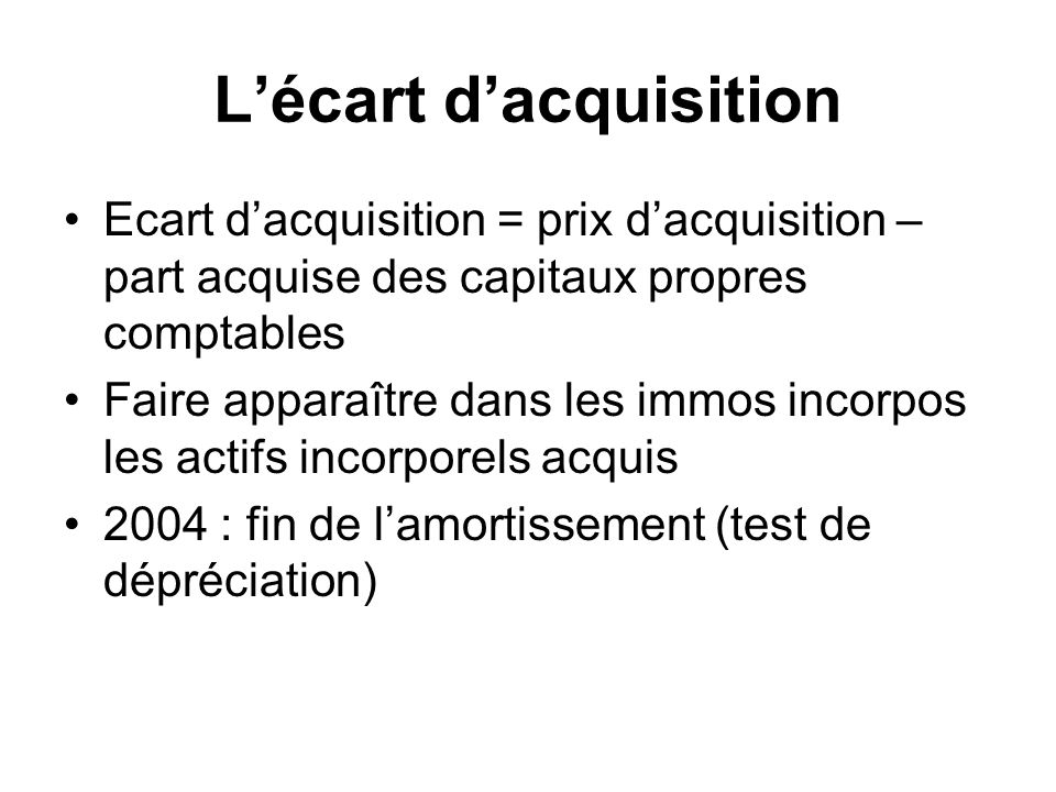 L'écart d'acquisition