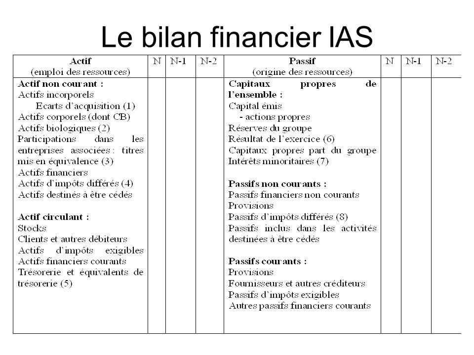 Le bilan financier IAS