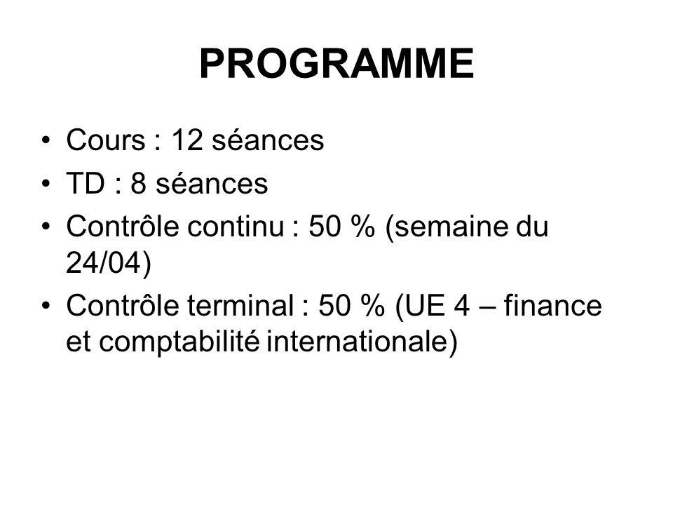 PROGRAMME Cours : 12 séances TD : 8 séances